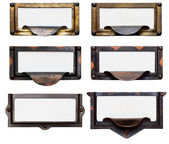 Old File Drawer Frames With Blank Labels — Stok fotoğraf