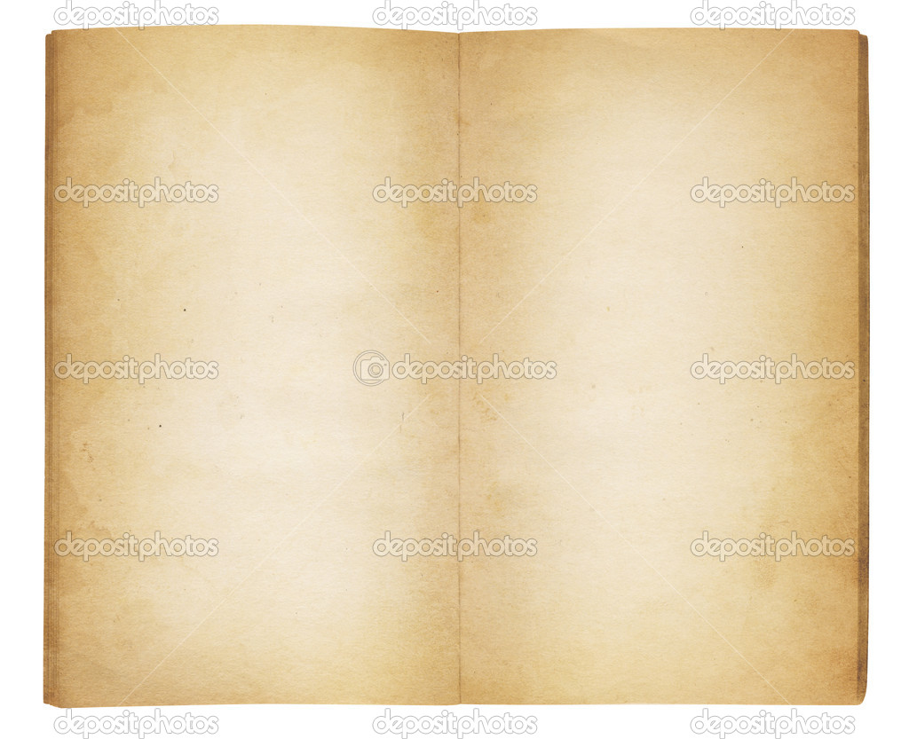 A vintage viewed from above and opened to reveal blank, yellowing and water-stained pages. Isolated on white. Includes clipping path. — Stock Photo #11656990