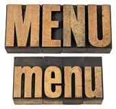 Menu word in letterpress wood type — Stock Photo