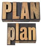 Plan word in letterpress wood type — Stock Photo