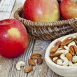 Apples and nuts — Stock Photo