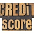 Credit score in wood type - Stock Photo