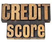 Credit score in wood type — 图库照片