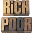 Rich and poor words in wood type — 图库照片