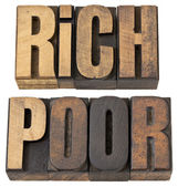 Rich and poor words in wood type — Stock Photo