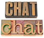 Chat word in letterpress wood type — Stock Photo