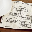 Mistakes in setting goals on napkin — Stock Photo