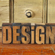 Design word in vintage wood type — Stock Photo