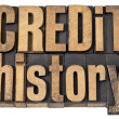 Credit history text in wood type - Foto Stock