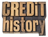 Credit history text in wood type — Foto Stock