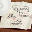 Feel good concept - napkin doodle — Stock Photo #10993744