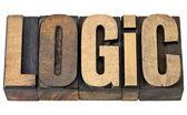 Logika slovo v dřeva typu — Stock fotografie