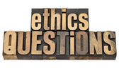 Ethics questions in wood type — Stock Photo
