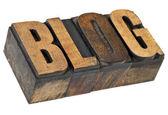 Blog woord in boekdruk houtsoort — Stockfoto