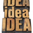 Idea word abstract in wood type — Stock Photo
