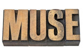 Muse word in wood type — Stock Photo