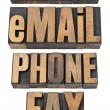 Contact, email, phone, fax word set — Foto Stock