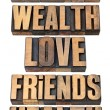 Life values list in wood type — Stock Photo