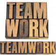 Stock Photo: Teamwork word in wood type