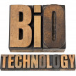 Bio technology in wood type — Stock Photo