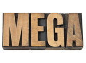 Mega word in wood type — Stock Photo