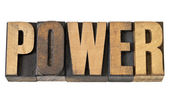 Power word in wood type — Stock Photo