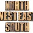 North, east, south, west in wood type - Stock Photo
