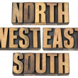 Stock Photo: North, east, south, west in wood type