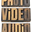 Stock Photo: Photo, video, audio words in wood type