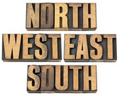 North, east, south, west in wood type — Stock Photo