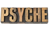 Psyche word in wood type — Stock Photo