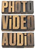 Photo, video, audio words in wood type — Stock Photo