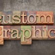 Custom graphics in wood type — Stock Photo