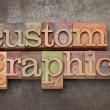 Custom graphics in wood type — Stock Photo