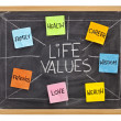 Life values concept on blackboard — Stock Photo