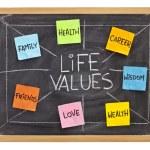 Life values concept on blackboard — Stock Photo