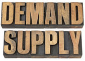 Demand and supply words in wood type — Stock Photo