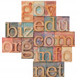 Internet domains in wood type - Stock Photo
