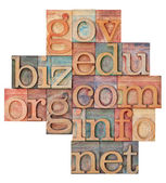 Internet domains in wood type — Stockfoto