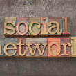 Social network in wood type - Stock Photo