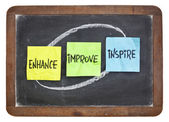 Enhance, improve, inspire on blackboard — Stock Photo