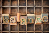 Balance word in wood type — Stock Photo
