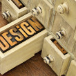 Design word - concept in wood type - Foto Stock