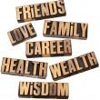 Career, family, health and other values - Foto Stock