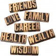 Career, family, health and other values — Stock Photo