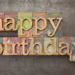 Happy birthday in wood type - Foto Stock