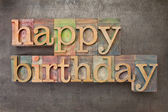 Happy birthday in wood type — Stock Photo