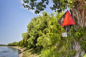 Missouri River navigational sign — Stock Photo