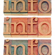 Info word in wood type — Stock Photo