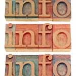 Info word in wood type — Stock Photo